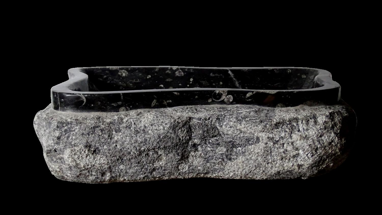 Wash me wastafel cm zonder plug mat zwart keramiek stone