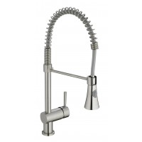 Sanifun Schütte CORNWALL sink mixer with spiral spring dual spray, stainless steel