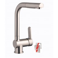 Sanifun Schütte LONDON sink mixer, low pressure with pull-out aerator, stainless steel