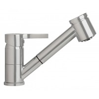 Sanifun Schütte LISSABON sink mixer with pull-out dual spray, stainless steel