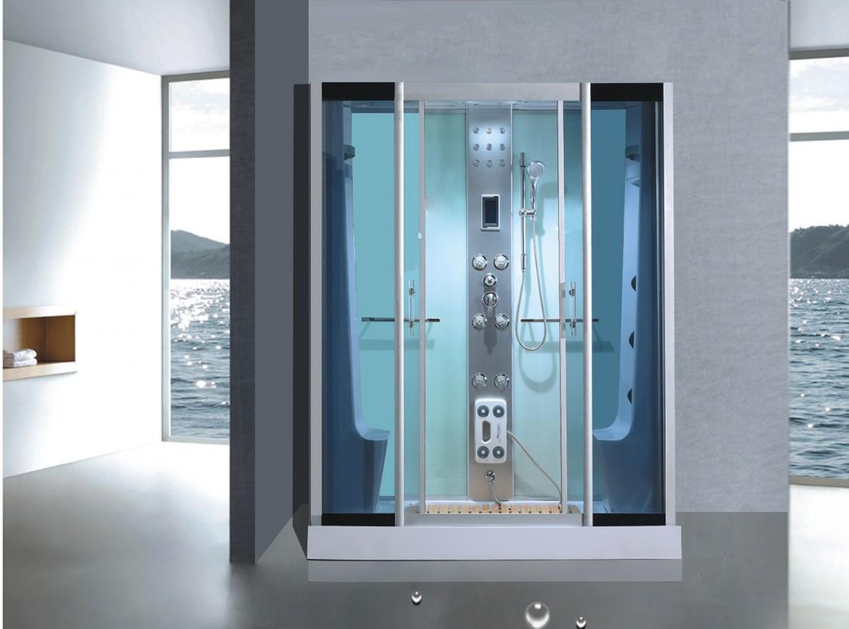Douchen in een complete douchecabine voor personen sanifun